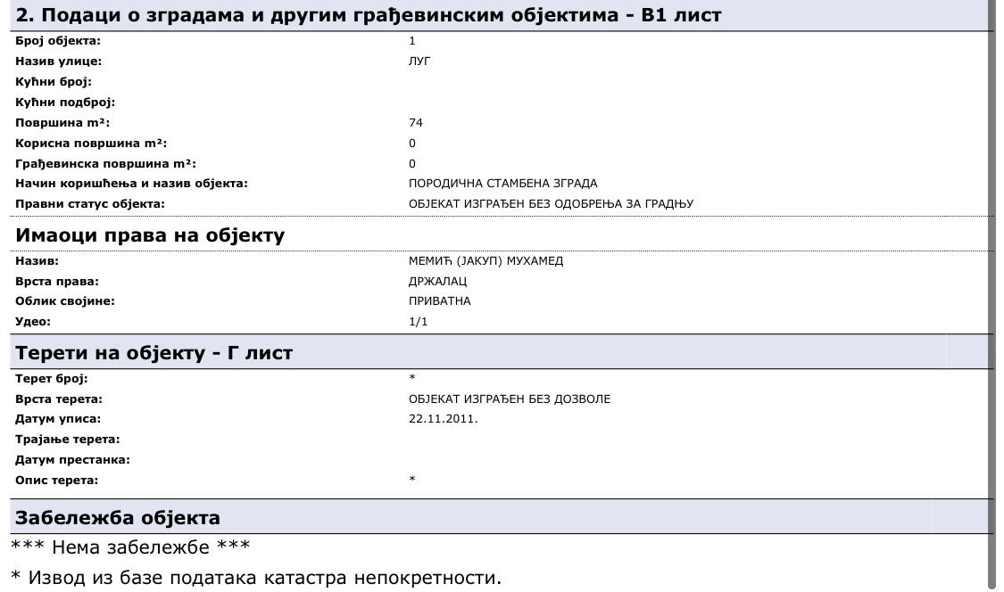 Prikaz katastarskih parcela 3779/2 i 3646 u vlasništvu Muhameda Memića – oca Huseina Memića.